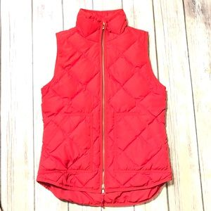 J. Crew Down Quilted Puffer Vest in red size XXS